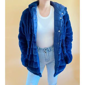 Blue Faux Fur Reversible Coat | Medium | NWT | M